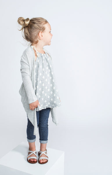 Draped Terry Cardigan with Back Pleat in Grey Chevron