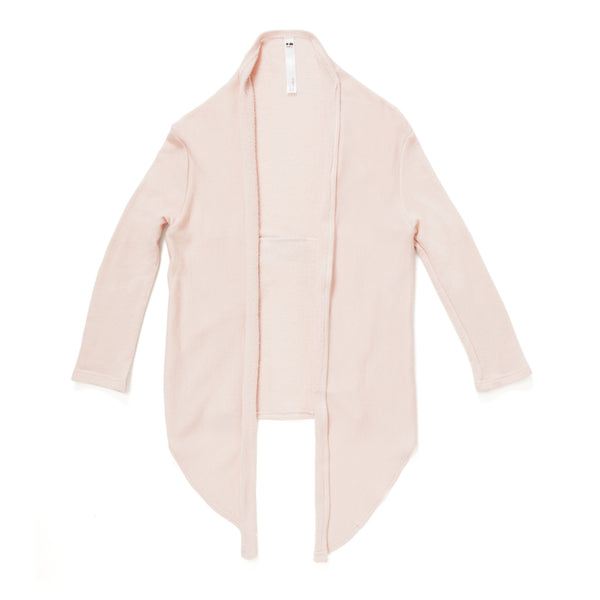 Draped Terry Cardigan with Back Pleat in Dusty Rose