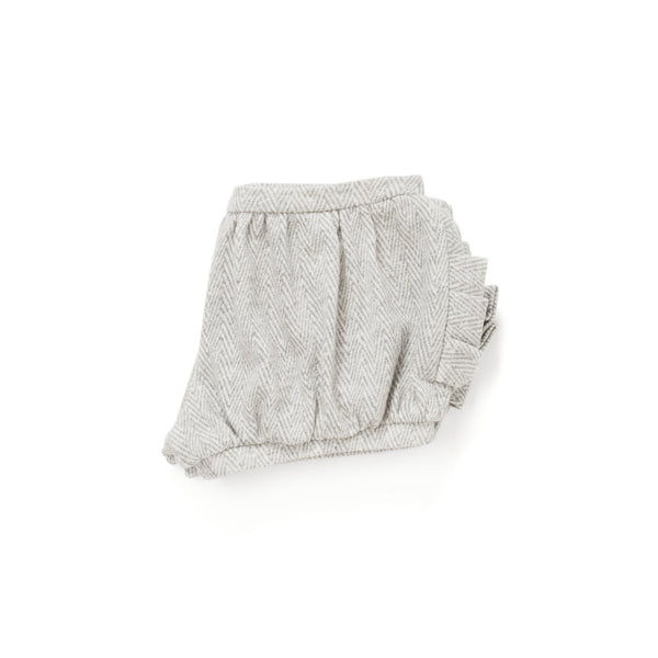 Bloomer Shorts with Pleated Pockets in Grey Chevron
