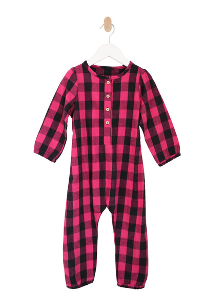 Puff Sleeve Jumpsuit in Pink Buffalo Plaid