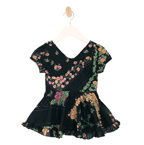 Puff Sleeve Ruffle Bubble Dress in Black Floral
