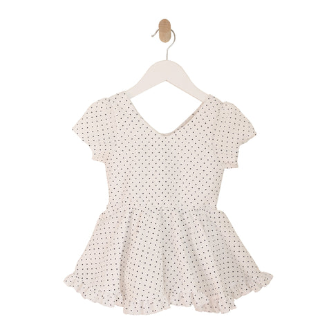 Puff Sleeve Ruffle Bubble Dress in White with Black Dots