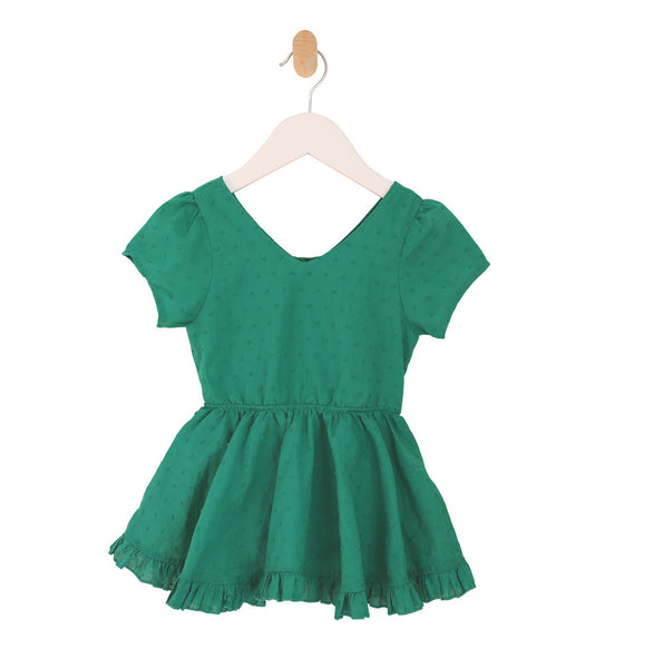 Puff Sleeve Ruffle Bubble Dress in Green Swiss Dot