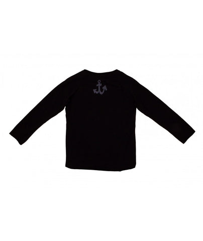 Kids Anchor Print Black Longsleeve Tee