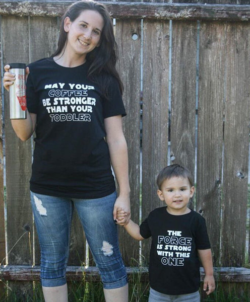 May your coffee be stronger than your toddler shirt set