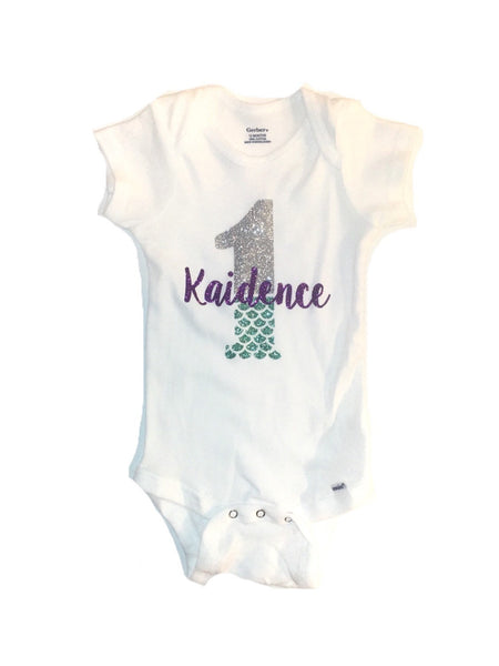First birthday mermaid bodysuit
