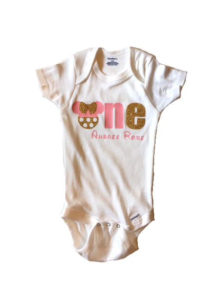 Minnie Mouse First Birthday bodysuit