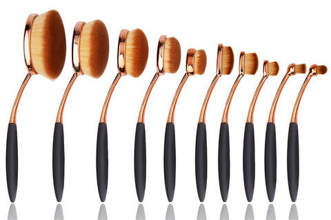10 Piece Black and Gold Oval Brush Set