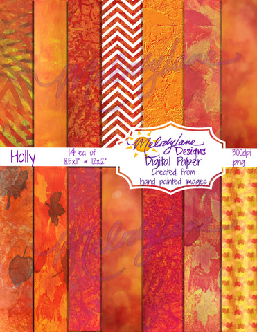 Holly Digital Paper Set