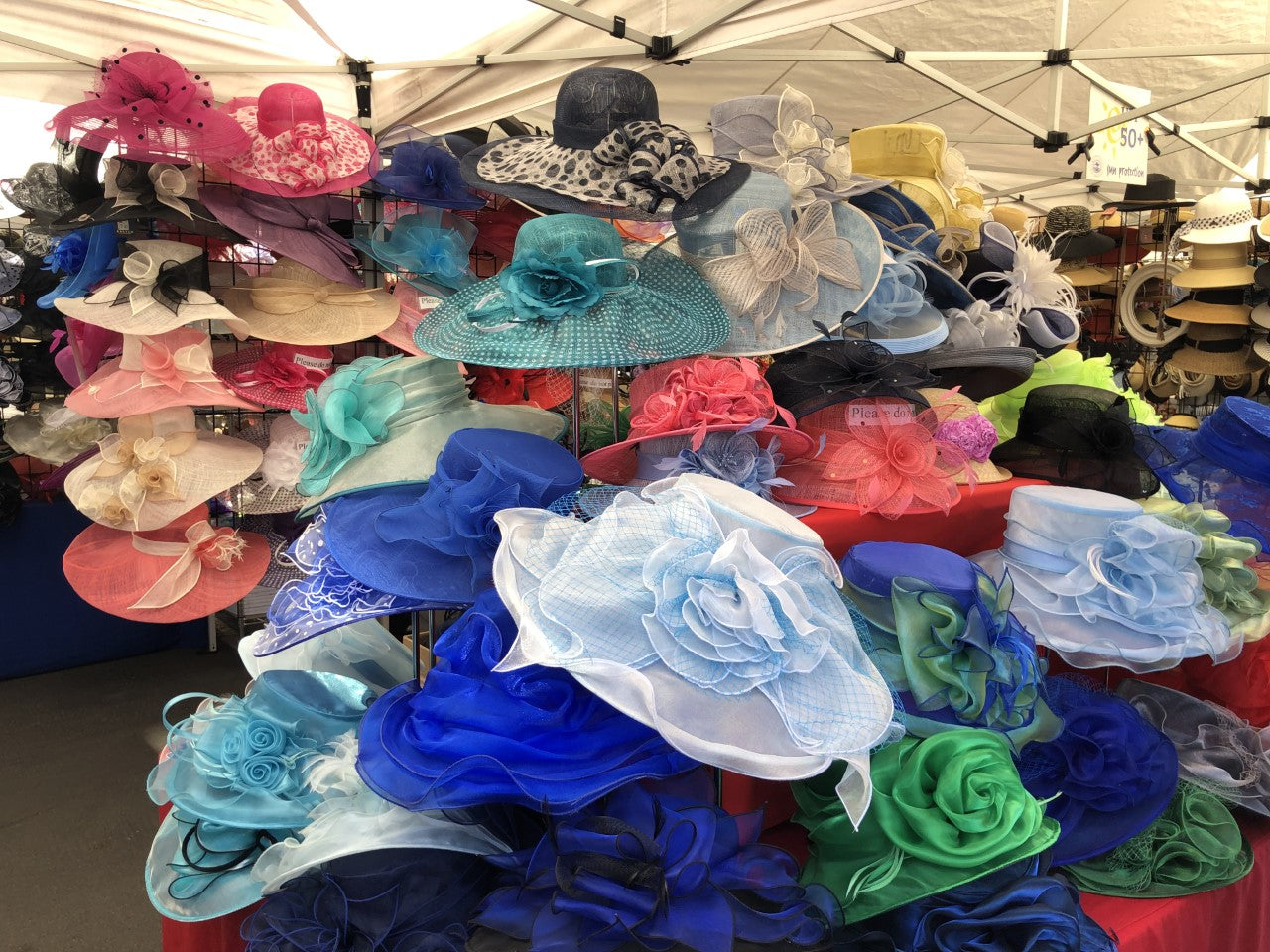 st patrick's day pop up hat shop. outdoor fun in palm desert california. andrea's hat shop