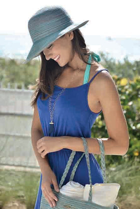 new summer hat styles for women. straw hat blue