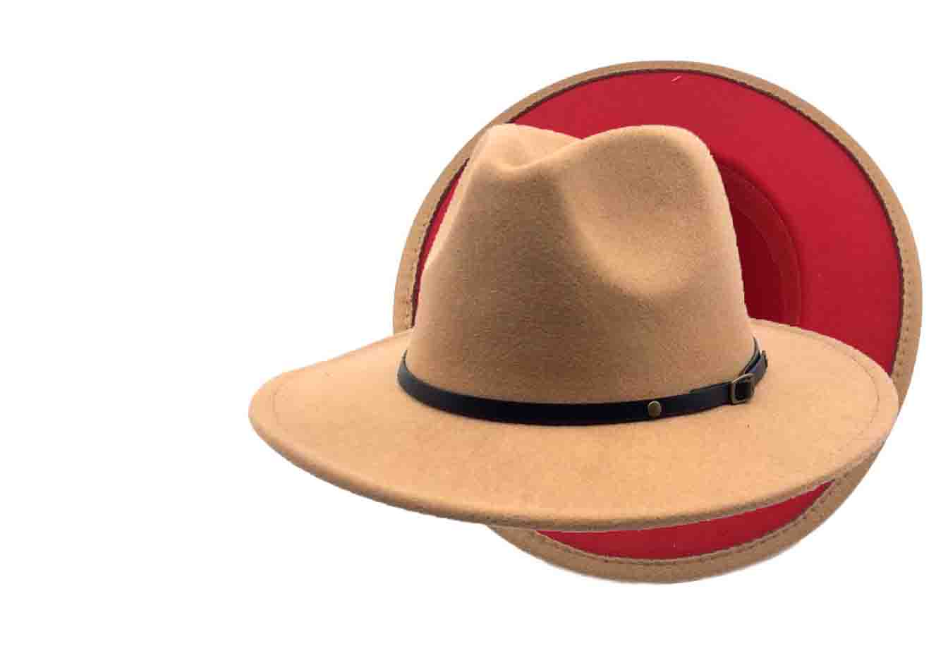 Red bottom felt unisex fedora hat. sale. Buy for $12.25 when you spend $35. christmas gift. stylish winter hat for men and women. more colors, red brim.