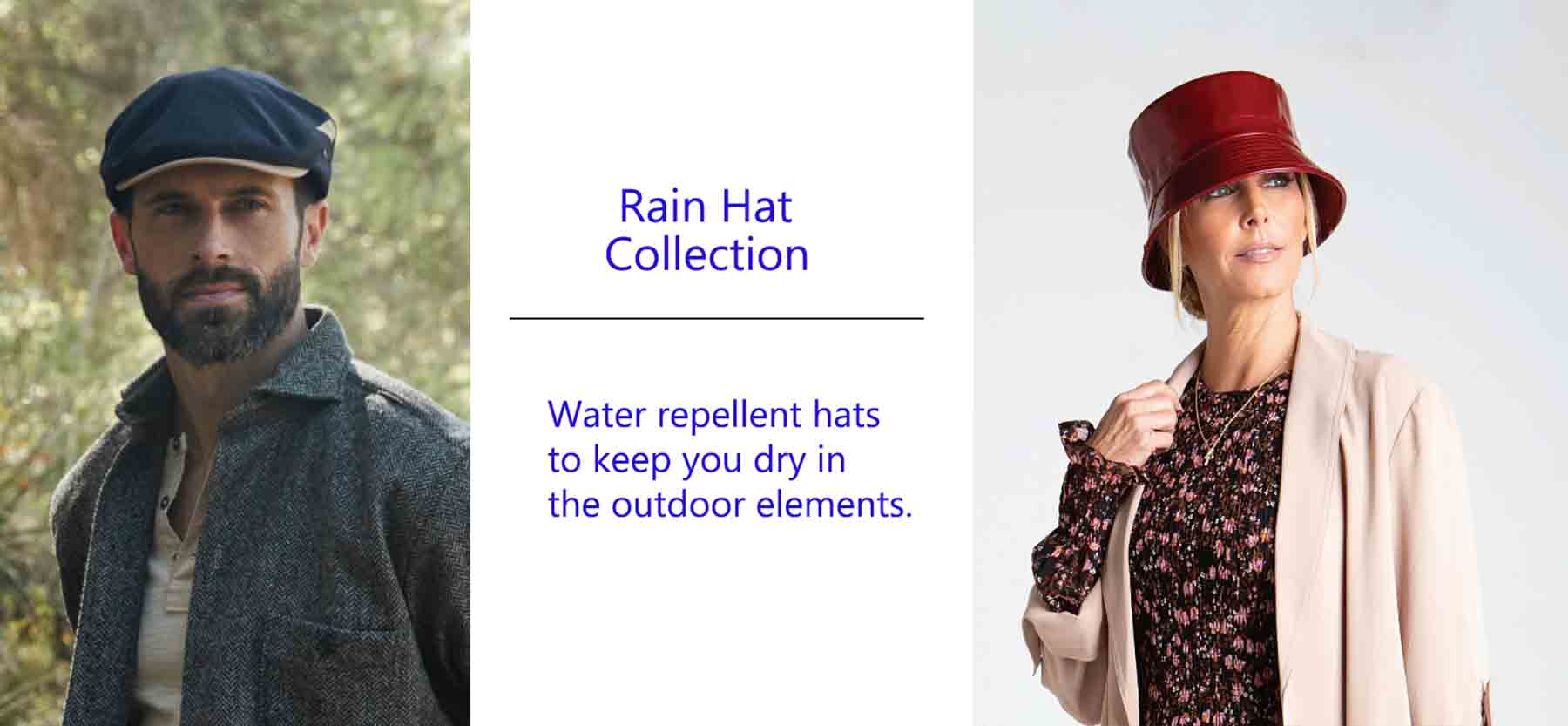 rain hats for men and women. water repellent hats designed to keep you dry in the outdoor elements.
