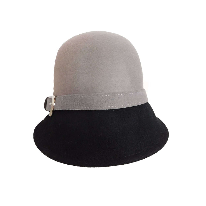 Two-Tone Cloche with Buckle - SetarTrading Hats