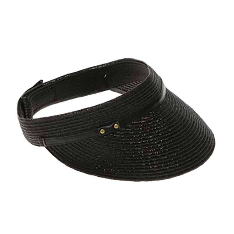 Straw Sun Visor with Faux Leather Belt Accent