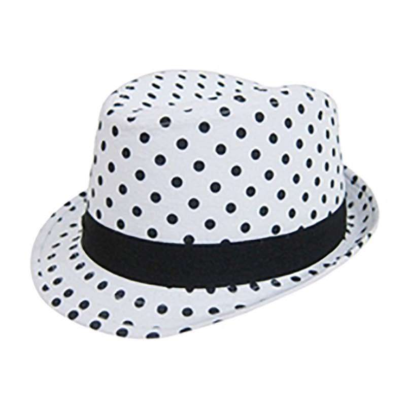 Junior Black and White Polka Dot Fedora by Boardwalk
