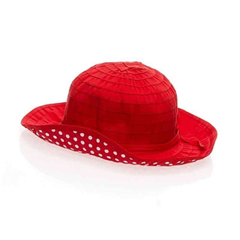 Girl's Shapeable Sun Hat with Polka Dot Underbrim