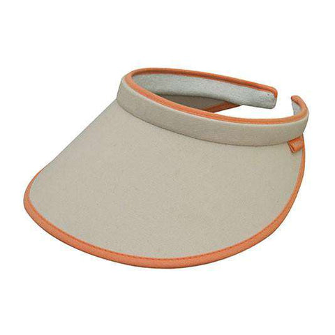 Brushed Cotton Clip-on Sun Visor with Contrast Trim - Khaki