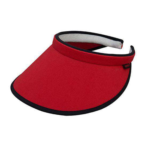 Brushed Cotton Clip-on Sun Visor with Contrast Trim - Red