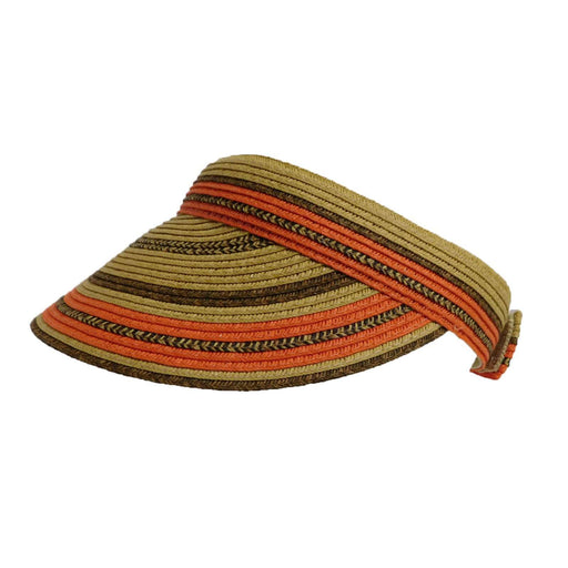 Multicolor Striped Straw Visor - SetarTrading Hats