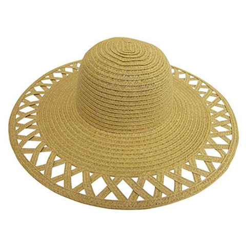 Cutout Brim Straw Summer Hat-Natural