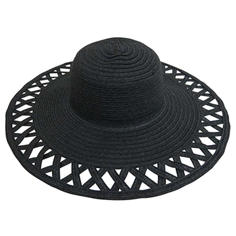 Cutout Brim Straw Summer Hat-Black - SetarTrading Hats