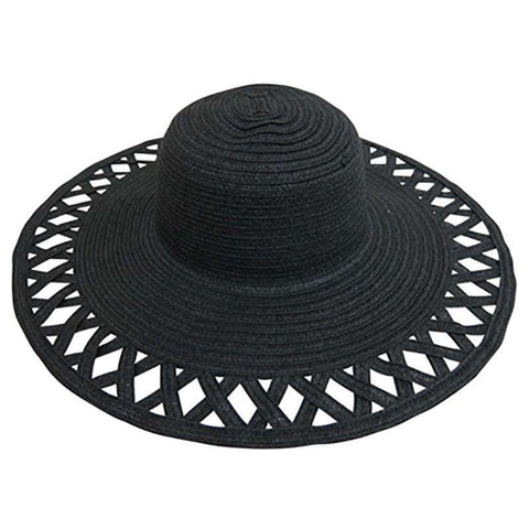 Cutout Brim Straw Summer Hat-Black