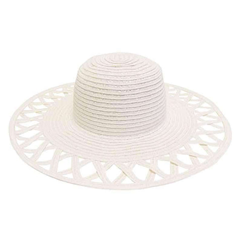 Cutout Brim Straw Summer Hat-White