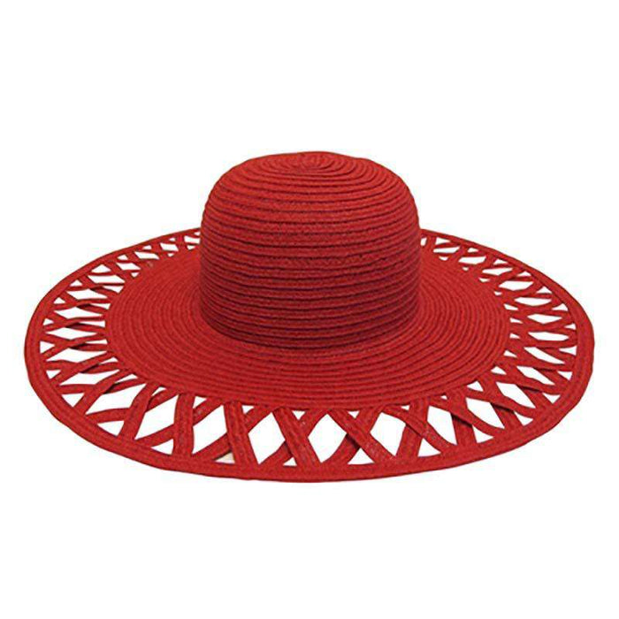 Cutout Brim Straw Summer Hat-Fuchsia - SetarTrading Hats