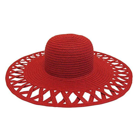 Cutout Brim Straw Summer Hat-Red