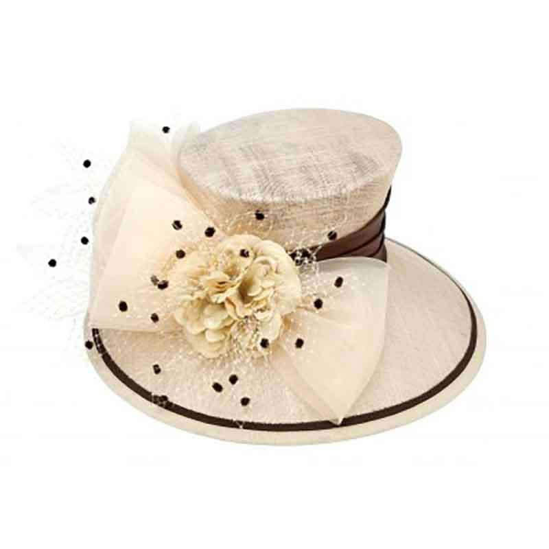 Champagne and Brown Dotted Sinamay Dress Hat with Satin Band - SetarTrading Hats