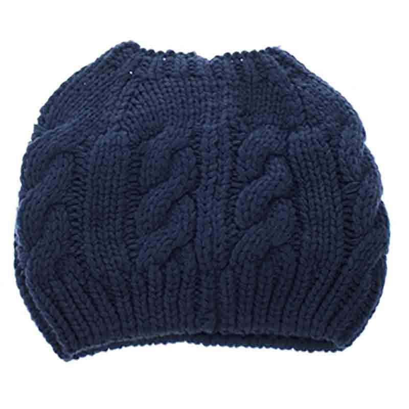 Cable Knit Messy Bun Beanie - DNMC - SetarTrading Hats