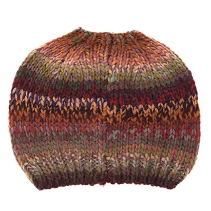 Space Dyed Yarn Messy Bun Fashion Beanie - DNMC