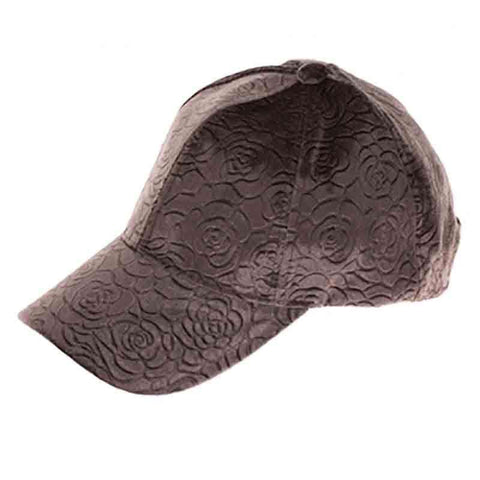 Intricate Rose Textured Velvety Fashion Cap - DNMC