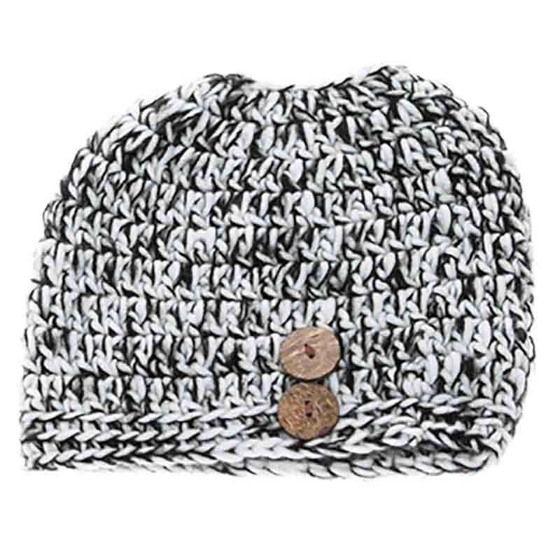 Knit Tweed Fashion Bun Beanie Hat - DNMC