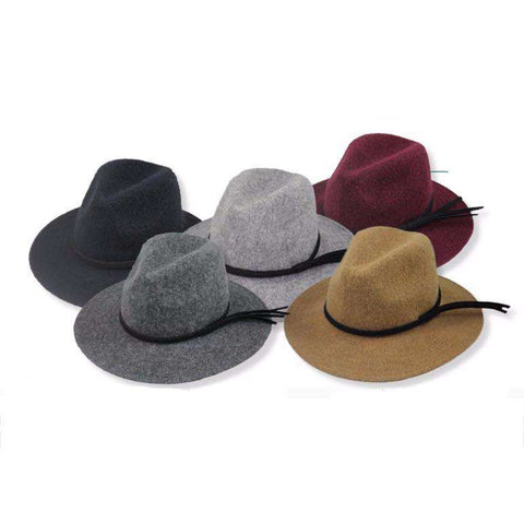Large Brim Wool Fedora with Double Leatherette Band