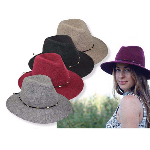 Large Brim Wool Fedora by JSA for Women