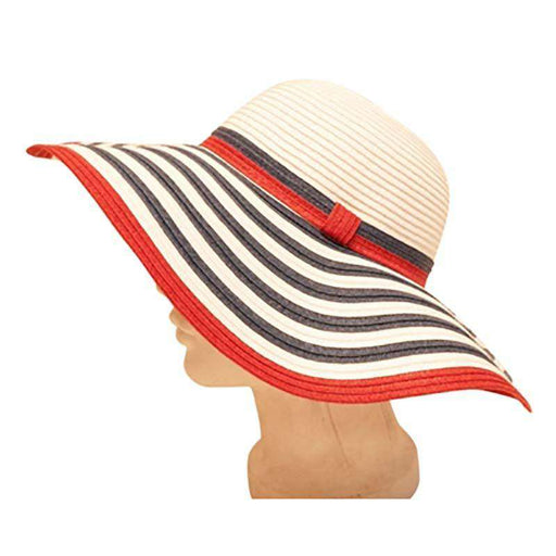 Red, White and Blue Striped Brim Sun Hat - SetarTrading Hats