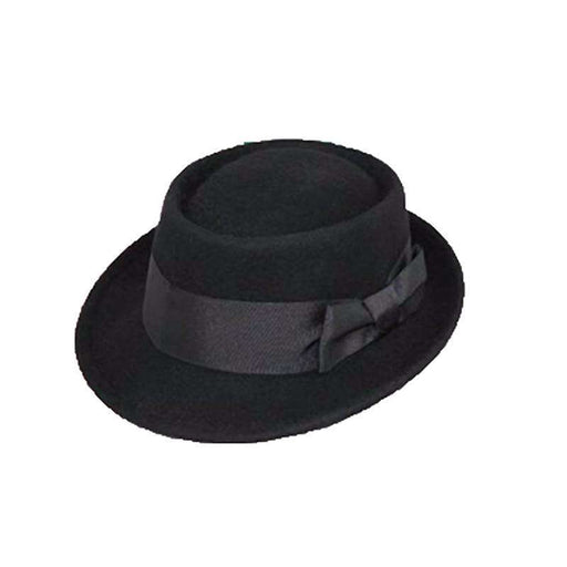 Wool Felt Porkpie Fedora Hat by JSA -Black