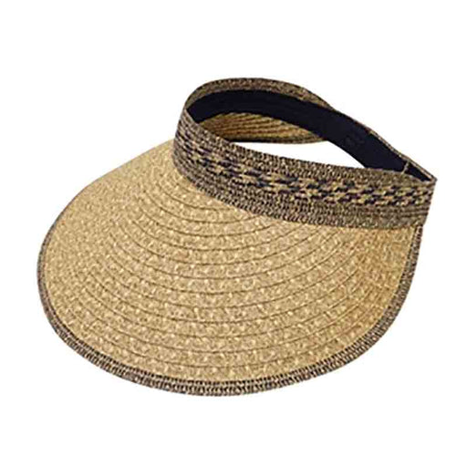 Roll Up Mix Braid Large Brim Sun Visor - Boardwalk Style