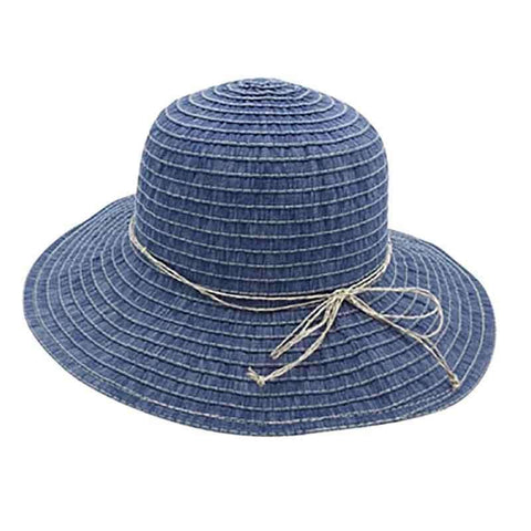 Denim Ribbon Sun Hat with Straw String Bow