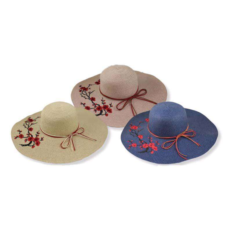 Embroidered Red Blossom Tree Sun Hat - SetarTrading Hats
