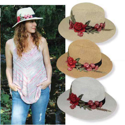 Jeanne Simmons rose applique safari fedora straw sun hat on model