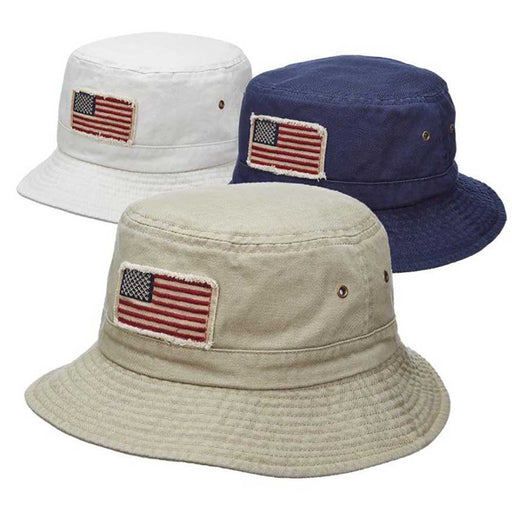 Homage Garment Washed Twill Bucket Hat with American Flag - DPC Outdoor Hats