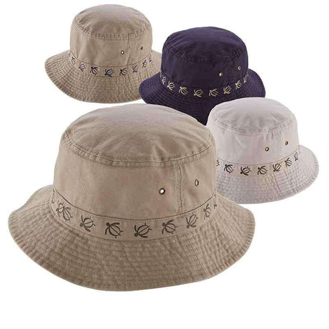 Cotton Bucket Hat with Turtle Embroidery by DPC Global