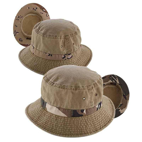 Camo Underbrim Cotton Bucket Hat by DPC Global