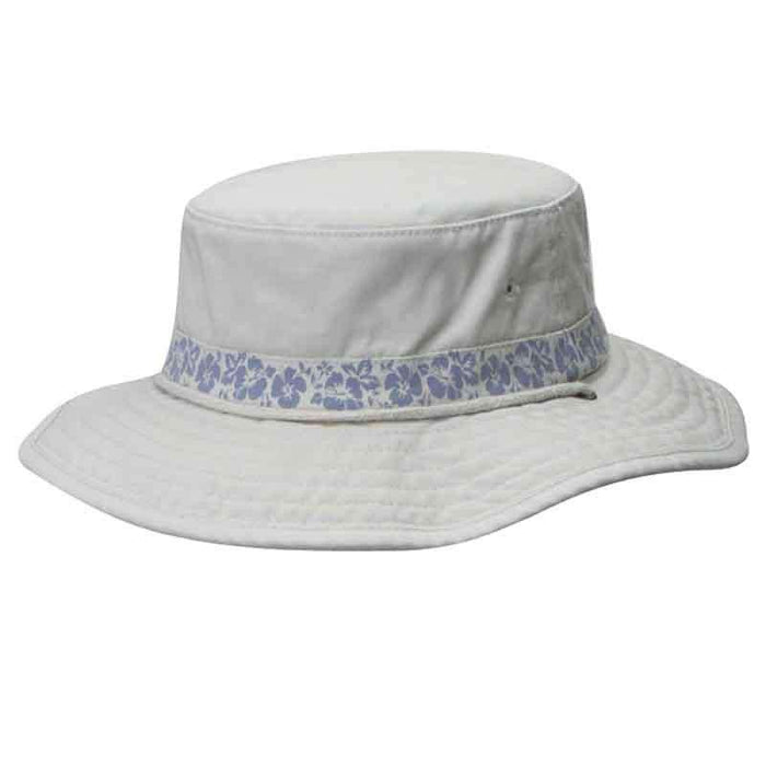 Garment Washed Twill Boonie Hat with Hibiscus Print by DPC Global - SetarTrading Hats