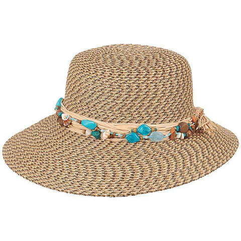 Narrowing Brim Sun Hat with Shells