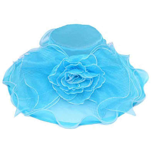 Ruffle Flower Netting Organza Hat