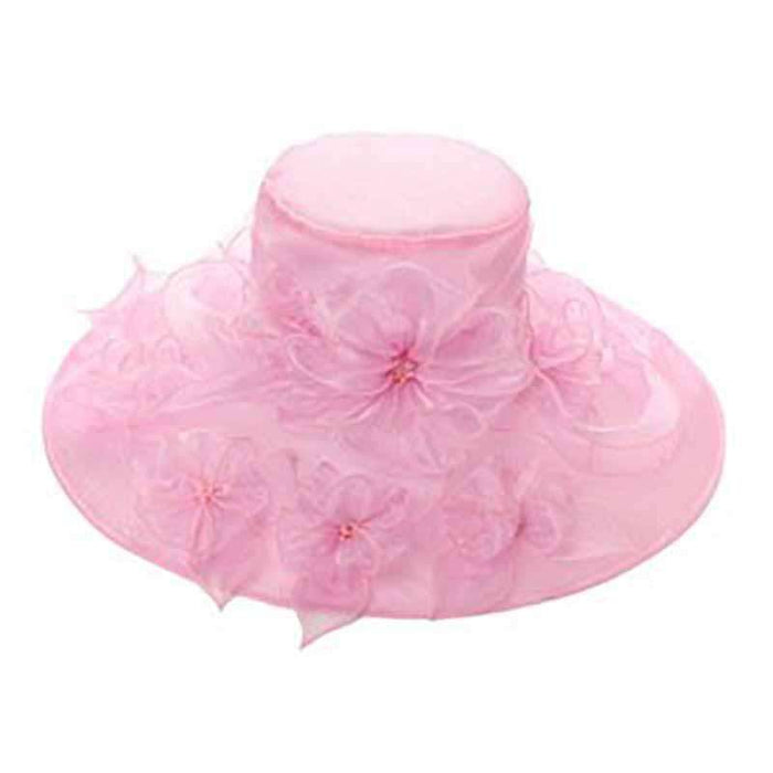 Organza Hat with Flower Bouquet